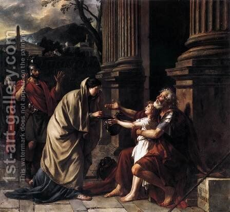 Belisarius Receiving Alms 1781 by Jacques Louis David - Reproduction Oil Painting