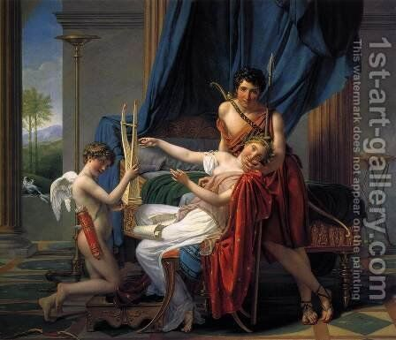 Sappho and Phaon 1809 by Jacques Louis David - Reproduction Oil Painting