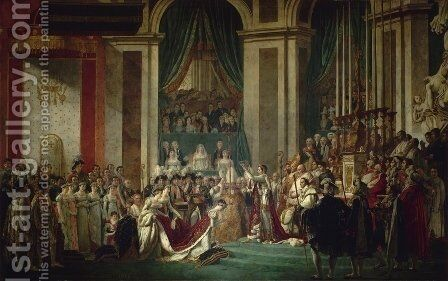 Consecration of the Emperor Napoleon I and Coronation of the Empress Josephine 1805-07 by Jacques Louis David - Reproduction Oil Painting