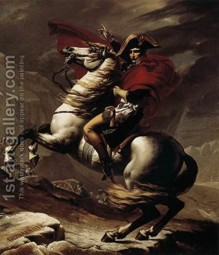 Bonaparte, Calm on a Fiery Steed, Crossing the Alps 1801 by Jacques Louis David - Reproduction Oil Painting