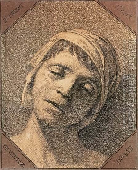 Head of the Dead Marat 1793 by Jacques Louis David - Reproduction Oil Painting