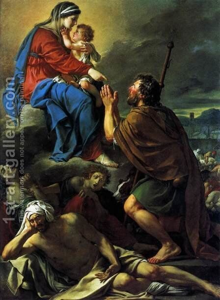 St Roch Asking the Virgin Mary to Heal Victims of the Plague 1780 by Jacques Louis David - Reproduction Oil Painting