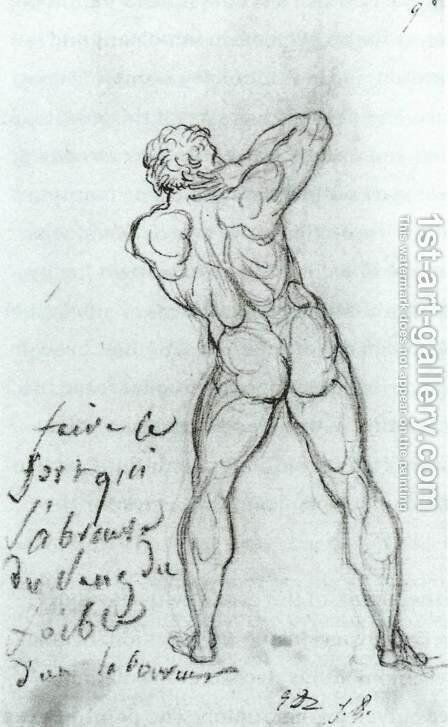 Study After Michelangelo 1790 by Jacques Louis David - Reproduction Oil Painting
