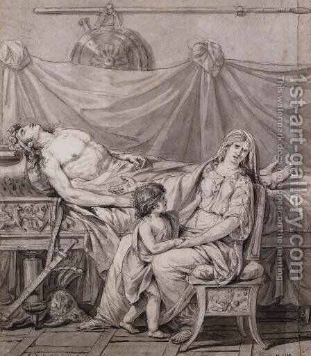 The Three Horatii Brothers 1785 by Jacques Louis David - Reproduction Oil Painting