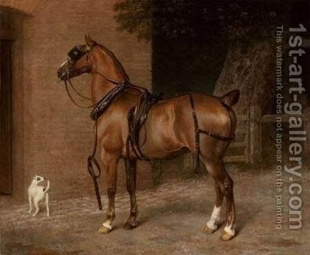 A Carriage Horse by Jacques Laurent Agasse - Reproduction Oil Painting