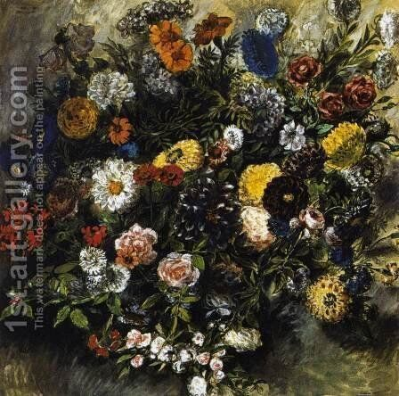 Bouquet of Flowers 1849-50 by Eugene Delacroix - Reproduction Oil Painting
