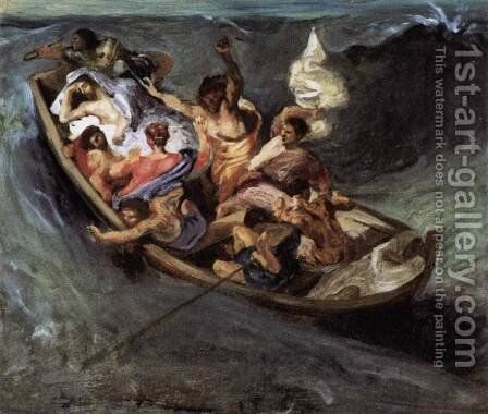 Christ on the Lake of Gennezaret (sketch) c. 1841 by Eugene Delacroix - Reproduction Oil Painting