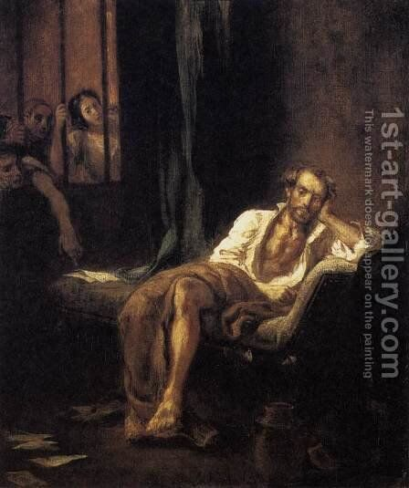 Tasso in the Madhouse 1839 by Eugene Delacroix - Reproduction Oil Painting