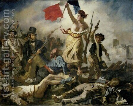 Liberty Leading the People (28th July 1830) 1830 by Eugene Delacroix - Reproduction Oil Painting