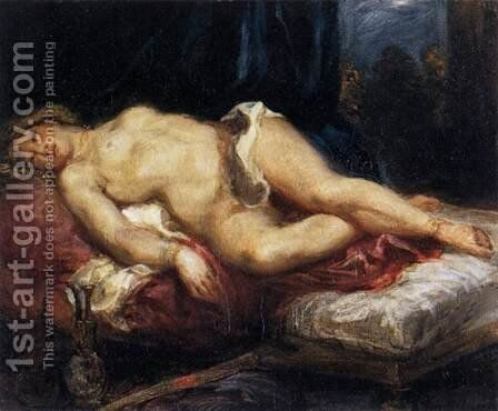 Odalisque Reclining on a Divan 1827-28 by Eugene Delacroix - Reproduction Oil Painting