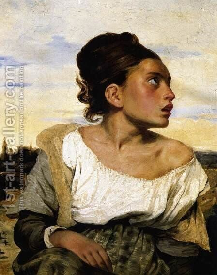 Girl Seated in a Cemetery 1824 by Eugene Delacroix - Reproduction Oil Painting