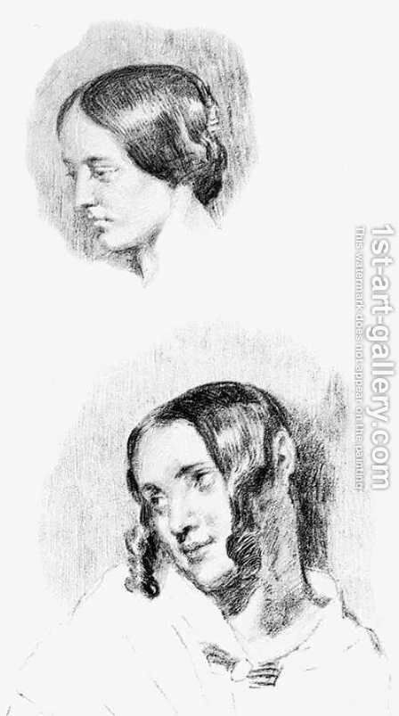 Study For Jenny Le Guillou And Josephine De Forget by Eugene Delacroix - Reproduction Oil Painting