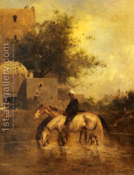 Horses Watering In A River by Eugene Fromentin - Reproduction Oil Painting