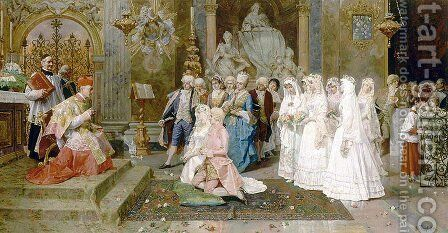 The Wedding by Giulio Rosati - Reproduction Oil Painting
