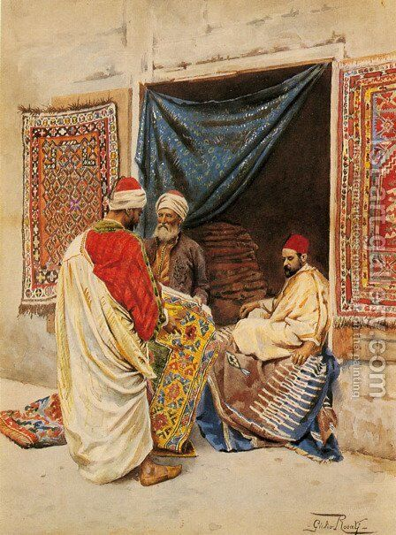 The Carpet Merchant by Giulio Rosati - Reproduction Oil Painting