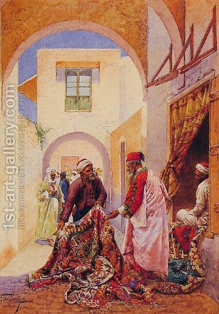 The Carpet Sellers by Giulio Rosati - Reproduction Oil Painting