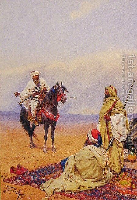 A Horseman Stopping At A Bedouin Camp by Giulio Rosati - Reproduction Oil Painting