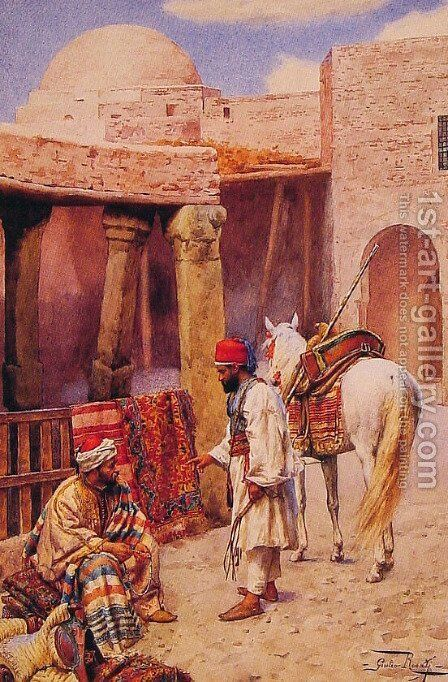 The Carpet Seller by Giulio Rosati - Reproduction Oil Painting