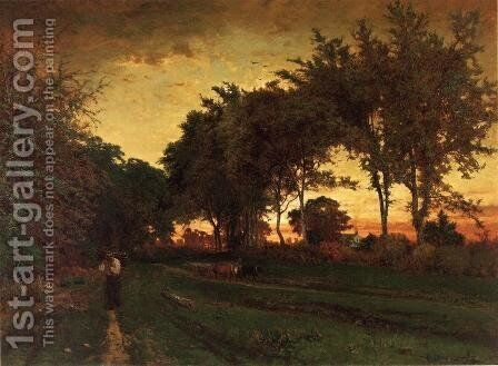 Evening Landscape by George Inness - Reproduction Oil Painting