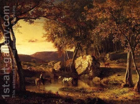 Summer Days  Cattle Drinking Late Summer  Early Autumn by George Inness - Reproduction Oil Painting
