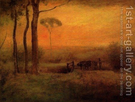 Pastoral Landscape At Sunset by George Inness - Reproduction Oil Painting