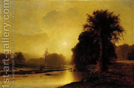 Autumn Meadows by George Inness - Reproduction Oil Painting