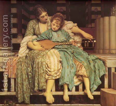 Music Lesson by Lord Frederick Leighton - Reproduction Oil Painting