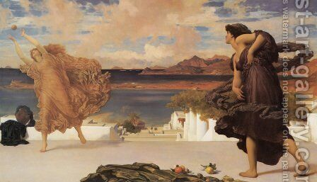 Greek Girls Playing At Ball by Lord Frederick Leighton - Reproduction Oil Painting