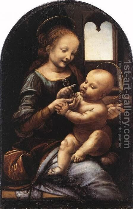 Madonna with a Flower (Madonna Benois) c. 1478 by Leonardo Da Vinci - Reproduction Oil Painting