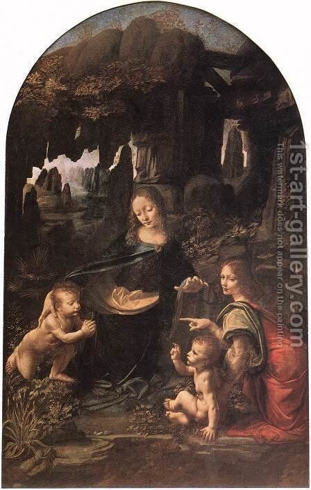Virgin of the Rocks 1483-86 by Leonardo Da Vinci - Reproduction Oil Painting