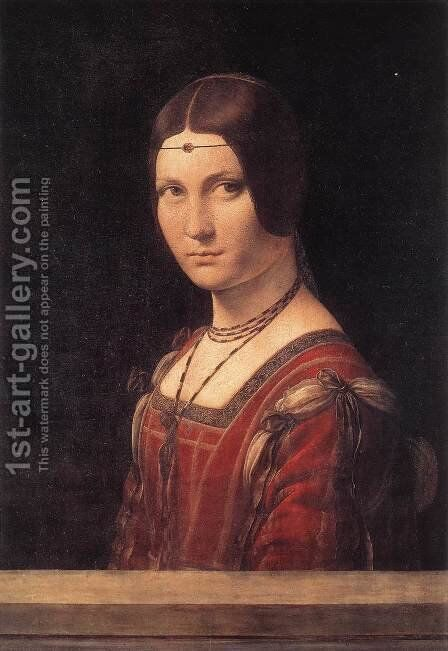 La belle Ferroniere c. 1490 by Leonardo Da Vinci - Reproduction Oil Painting