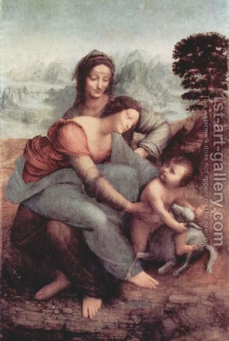 The Virgin and Child with St Anne c. 1510 by Leonardo Da Vinci - Reproduction Oil Painting