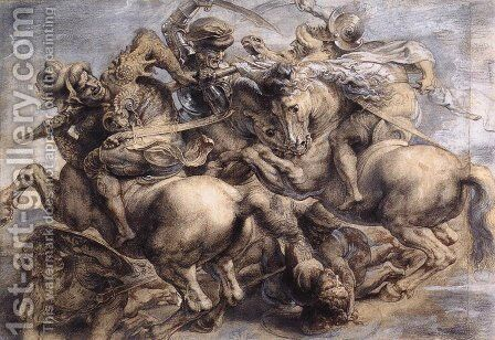 The Battle of Anghiari (detail) 1503-05 by Leonardo Da Vinci - Reproduction Oil Painting