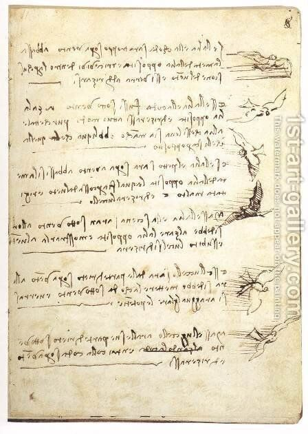 Codex On The Flight Of Birds by Leonardo Da Vinci - Reproduction Oil Painting