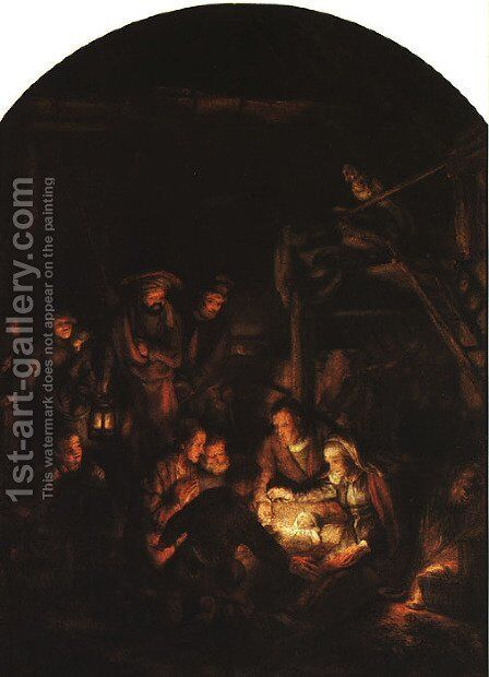 Adoration of the Shepherds 1646 by Rembrandt - Reproduction Oil Painting