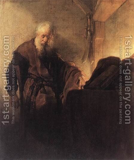 St Paul at his Writing-Desk 1629-30 by Rembrandt - Reproduction Oil Painting