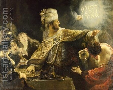 Belshazzar's Feast 1635 by Rembrandt - Reproduction Oil Painting
