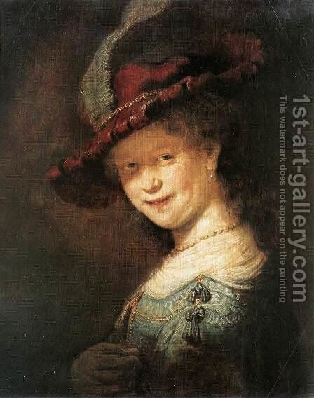 Portrait of the Young Saskia 1633 by Rembrandt - Reproduction Oil Painting