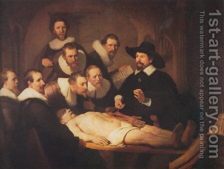 The Anatomy Lecture of Dr. Nicolaes Tulp 1632 by Rembrandt - Reproduction Oil Painting