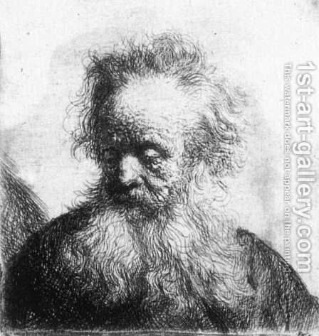 Old Man With Flowing Beard Looking Down Left 1631 by Rembrandt - Reproduction Oil Painting