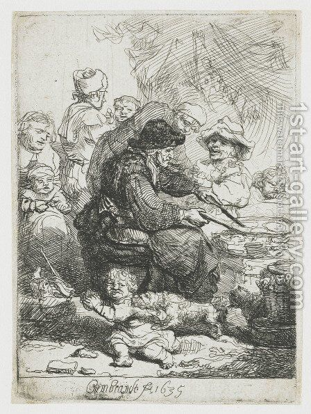 The Pancake Woman 1635 by Rembrandt - Reproduction Oil Painting