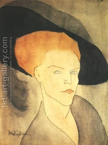 Head Of A Woman With A Hat by Amedeo Modigliani - Reproduction Oil Painting