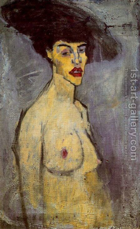 Female Nude With Hat by Amedeo Modigliani - Reproduction Oil Painting