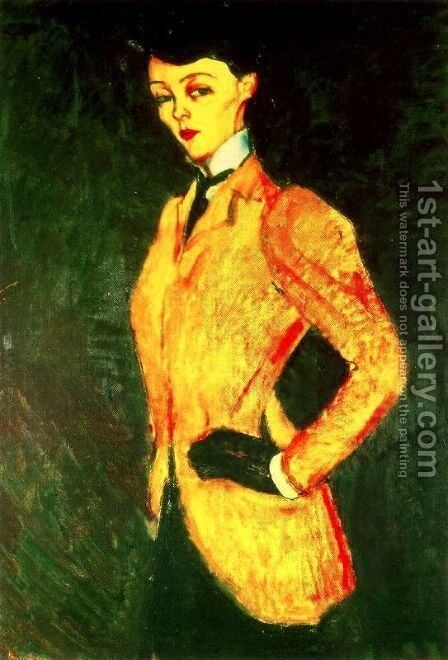 Woman In Yellow Jacket   The AmazonWoman In Yellow Jacket   The Amazon by Amedeo Modigliani - Reproduction Oil Painting
