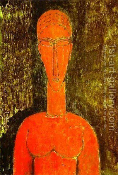 The Red Bust by Amedeo Modigliani - Reproduction Oil Painting