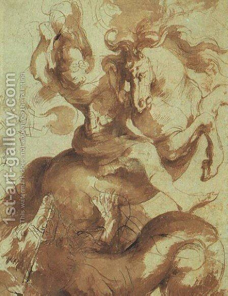 St  George Slaying The Dragon by Rubens - Reproduction Oil Painting