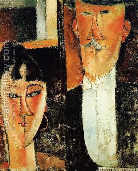 Bride And Groom by Amedeo Modigliani - Reproduction Oil Painting