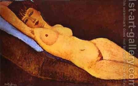 Reclining Nude With Blue Cushion by Amedeo Modigliani - Reproduction Oil Painting