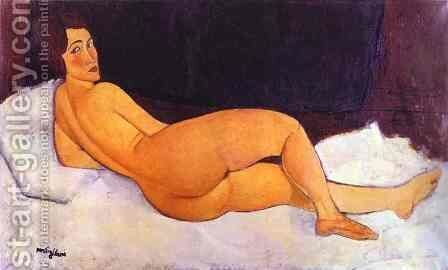 Nude Looking Over Her Right Shoulder by Amedeo Modigliani - Reproduction Oil Painting