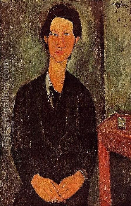 Portrait Of Chaim Soutine Seated At A Table by Amedeo Modigliani - Reproduction Oil Painting